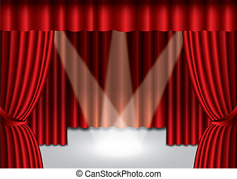 eps10, étape, rideau, théâtre, projecteur, rouges