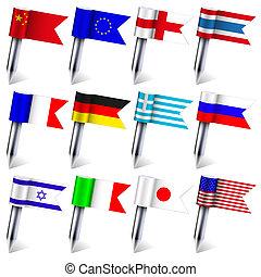 eps10, απομονωμένος , φόντο. , σημαίες , vector., κόσμοs ,...