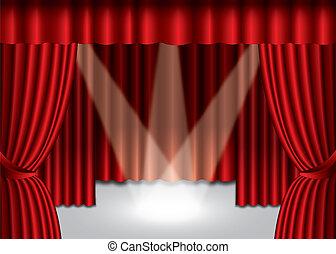 eps10, εξέδρα , κουρτίνα , θέατρο , προβολέας , κόκκινο