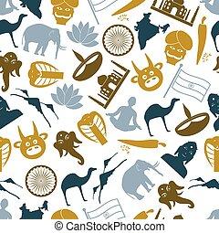 eps10, アイコン, 国, インド, シンボル, 主題, パターン