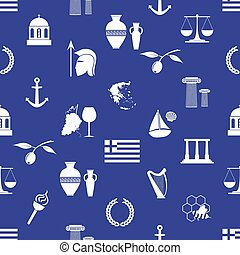 eps10, アイコン, 国, seamless, シンボル, 主題, ギリシャ, パターン