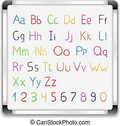 eps10, アルファベット, イラスト, 手, ベクトル, 引かれる, whiteboard