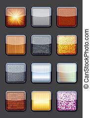 eps10, コレクション, ボタン, textured, 光沢がある, 空