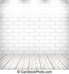 eps10, スポットライト, 床, 壁, 型, イラスト, 木製である, ベクトル, interior., 白い煉瓦