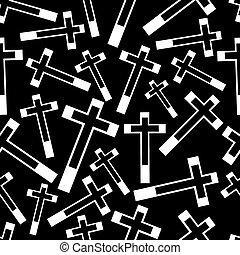 eps10, パターン, 交差点, seamless, 暗い, 宗教, 黒, 白