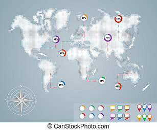 eps10, パーセント, 地図, infographics, 世界, 円, file.