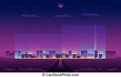 eps10, ベクトル, 都市, イラスト, ネオン, 照明, 小さい