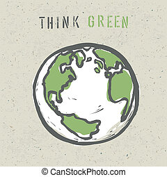 eps10, ポスター, 緑, 考えなさい, デザイン, ベクトル, template.