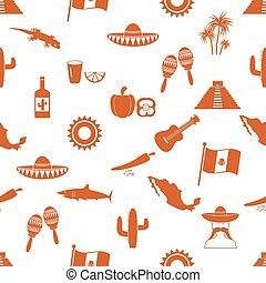 eps10, メキシコ\, 国, アイコン, seamless, シンボル, 主題, パターン