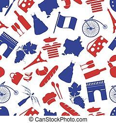 eps10, 国, seamless, フランス, シンボル, 主題, パターン