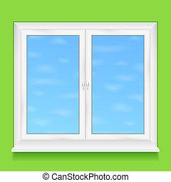eps10, 壁, イラスト, 窓, ベクトル, 緑
