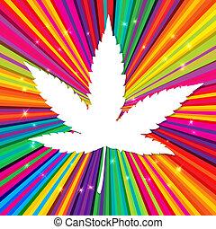 eps10, 抽象的, インド大麻, 背景, ベクトル, 葉, psychedelic