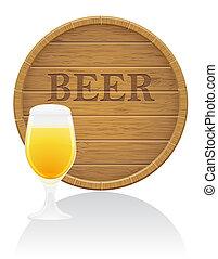 eps10, 木製である, イラスト, ガラス, ビール, ベクトル, 樽