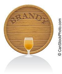 eps10, 木製である, イラスト, ガラス, ブランデー, ベクトル, 樽