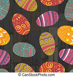 eps10, 木製である, 卵, バックグラウンド。, ベクトル, イースター, 板