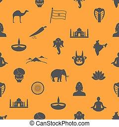 eps10, 色, 国, インド, seamless, シンボル, 主題, パターン