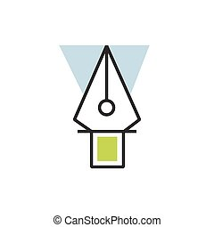 eps10, 道具, ペン, ベクトル, 緑, アイコン