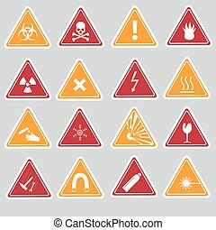 eps10, 16, couleur, danger, signes, autocollants, types