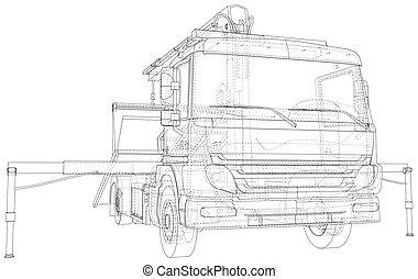 eps10, 3d, イラスト, format., 牽引, trucks., wire-frame, 線, ベクトル, 作成される