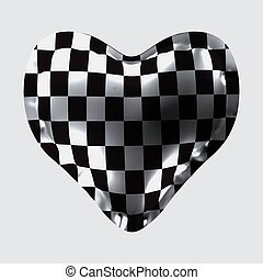 3d illustration of a balloon in the form of a heart, with a chess texture