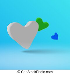 A light heart on a blue background in 3d style.