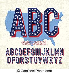 eps10, alfabeto, celebrations., vetorial, quarto, patriótico, julho