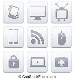 eps10, app , μικροβιοφορέας , άσπρο , τεχνολογία , set., εικόνα