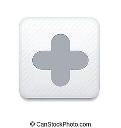 eps10, app, vektor, plus, vit, icon.