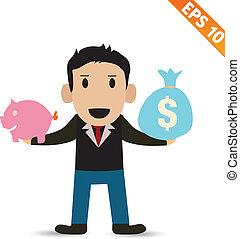 eps10, argent, -, illustration, vecteur, homme affaires, financier, dessin animé