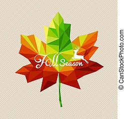 eps10, arquivo, coloridos, estação, sobre, leaf., veado, vetorial, texto, transparência, outono, fácil, geomã©´ricas, editando