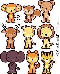 eps10, arquivo, personagem, -, vetorial, animal, selvagem,...
