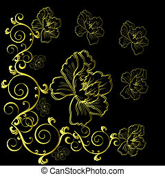 fantasy hand drawn flowers - eps10 background with fantasy ...
