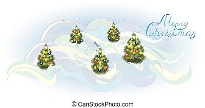 eps10, bomen., illustratie, vector, kerstmis kaart