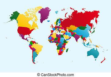 eps10, bunte, länder, landkarte, vektor, abbildung, welt, ...