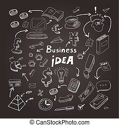 eps10, business, blackboard., illustration, craie, vecteur, doodles
