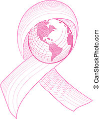 eps10, cancro, illustrazione, consapevolezza, mondo, file., nastro, seno