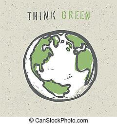 eps10, cartaz, verde, pensar, desenho, vetorial, template.
