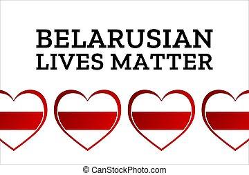 eps10, cartel, belarusian, plantilla, vidas, bandera, inscripción, belarus., inscription., illustration., tarjeta, plano de fondo, protests, concepto, texto, vector, matter.