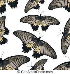 eps10, coloré, simple, modèle, seamless, papillons, vecteur