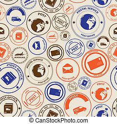 eps10, color, patrón, seamless, sellos, correo, poste