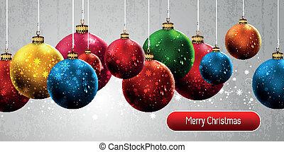 eps10, colorido, navidad, vector, plano de fondo, globos, ...