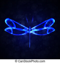 eps10, coloridos, abstratos, ilustração, vetorial, futurista, brilhante, libélula