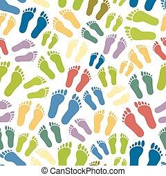 eps10, coloridos, simples, padrão, pegadas, seamless, human