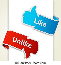 eps10, como, unlike, blogs, arriba, ilustración, abajo, vector, icons., señales, pulgar, websites.