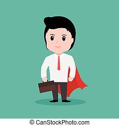 eps10, concept, vector, zakenman, superhero, spotprent