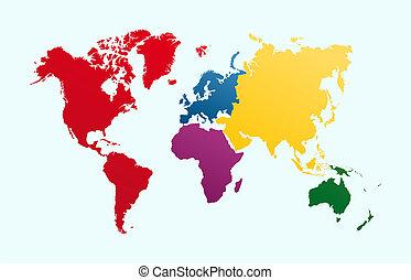 eps10, continentes, coloridos, mapa, vetorial, atlas, mundo, file.