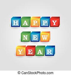 eps10, couleur, briques, nombres, année, nouveau, message, heureux