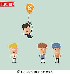 eps10, dinheiro, afastado, voando, -, ilustração, vetorial, homem negócios, usando, caricatura, balloon