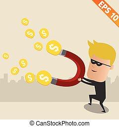 eps10, dinheiro, -, ladrão, ilustração, vetorial, roubar