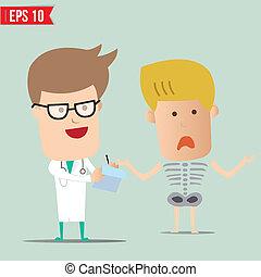 eps10, doutor, -, analisar, ilustração, vetorial, relatório, caricatura, raio x